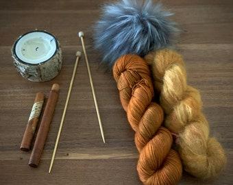 Roasted Pumpkin | Everyday Slouchy Beanie Kit | Superwash Merino Wool/Mohair | Hand Dyed Yarn | Pompom