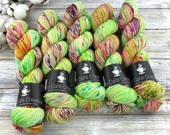 Americano DK Weight | 100% SW Merino Wool | Lime Chiffon | Hand Dyed Yarn | Superwash wool