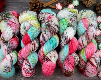 Polwarth Fingering Weight | 100% Superwash Polwarth Wool | Gumdrop Nougat | Christmas Candy Collection | Hand Dyed Yarn