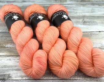 Gold Stellina | Grapefruit | Hand Dyed Yarn | Superwash wool