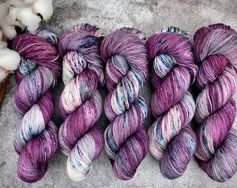 Biscotti Sock   85/15 SW Merino/Wool Sock Weight  Black Cherry Bellini   Hand Dyed Yarn   Superwash wool