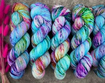 Biscotti Sock   85/15 SW Merino/Wool Sock Weight  Blueberry Muffin   Hand Dyed Yarn   Superwash wool