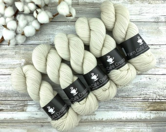 Fingering Weight | Ivory | Hand Dyed Yarn | Non-Superwash Merino Wool