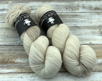 2-ply Fingering Weight | Eggnog | Hand Dyed Yarn | Superwash Merino Wool
