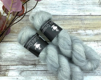 White Pepper | Mohair Silk | Hand Dyed Yarn