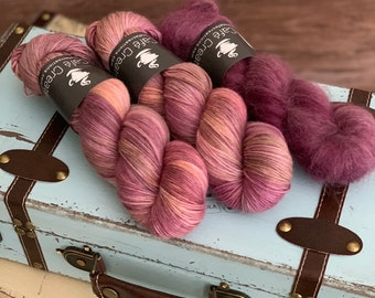 Hand-Dyed Yarn | Merino Wool and Kid Mohair and Silk | Birds of a Feather Kit | Fuzzy Navel