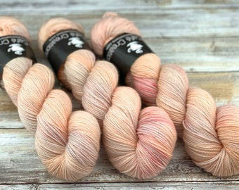 Gold Stellina | Peaches and Cream | Hand Dyed Yarn | Superwash wool
