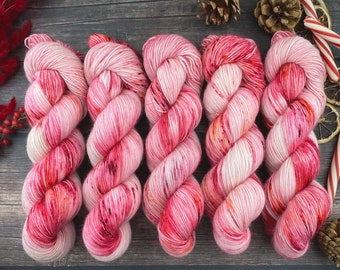 100% Merino SW Fingering Weight | Peppermint Stick | Christmas Candy Collection | Hand Dyed Yarn | Superwash wool