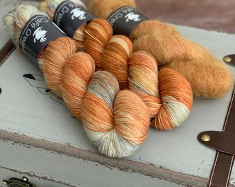 Hand-Dyed Yarn | Merino Wool and Kid Mohair and Silk | Birds of a Feather Kit | Pumpkin Seeds
