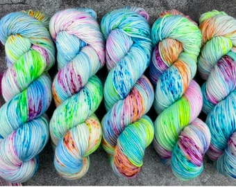 100% Merino SW Fingering Weight | Party Cannon | Pinkie Pie Collection | Hand Dyed Yarn | Superwash wool