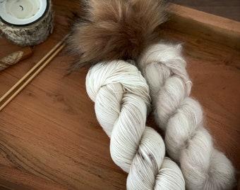 Eggnog | Everyday Slouchy Beanie Kit | Superwash Merino Wool/Mohair | Hand Dyed Yarn | Pompom