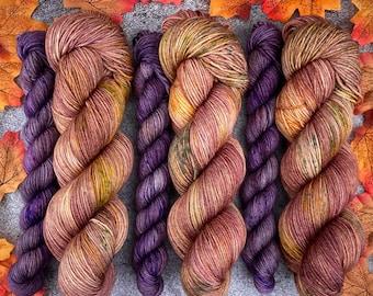 Sock Set | 85/15 SW Merino/Wool Sock Weight| Hot Cider Nog and Mulled Plum Cordial | Hand Dyed Yarn | Superwash wool