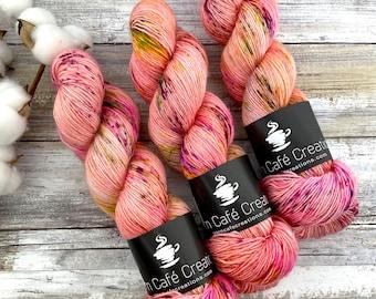 Merino/Linen Blend SW Fingering Weight | Orange Blossom | Hand Dyed Yarn | Superwash wool