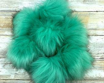 Peacock Feather | Pom Pom | Snap on Pom Pom | Faux Fur Pompom