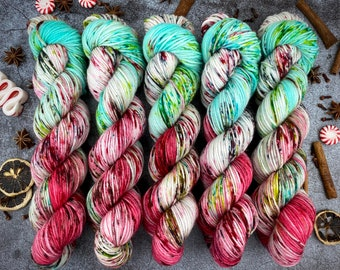 Mocha Worsted Weight   100% SW Merino Wool   Gumdrop Nougat   Christmas Candy Collection   Hand Dyed Yarn   Superwash Wool