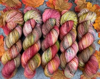 Biscotti Sock | 85/15 SW Merino/Wool Sock Weight| Cinnamon Pumpkin Latte | Hand Dyed Yarn | Superwash wool