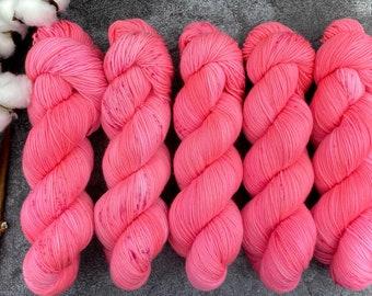 Polwarth Fingering Weight | Pink Petunia | Pinkie Pie Collection | Hand Dyed Yarn | Superwash Polwarth