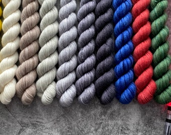 75/25 Superwash Merino Wool/Nylon Mini Skein Set   Star Wars Knitting The Galaxy  