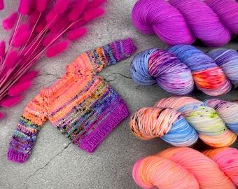 Size 30 April Morning Sweater Kit   Rainbow Falls   Superwash Merino Wool