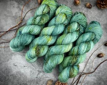 Merino/Linen Blend SW Fingering Weight | The Dark Mark | Hand Dyed Yarn | Superwash wool