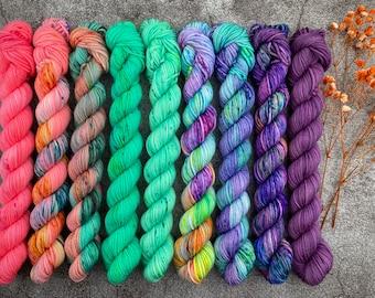 Pinkie Pie Collection   Mini Skein Set   Hand Dyed Yarn   Nine skein set