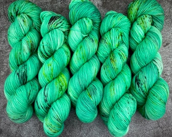 Polwarth Fingering Weight   100% Superwash Polwarth Wool   Goblin   Classic Halloween Collection   Hand Dyed Yarn