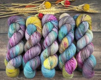 Biscotti DK Weight | 85% SW Merino Wool/15 Nylon | Warm Sangria Cider | Hand Dyed Yarn | Superwash