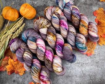 Biscotti Sock | 85/15 SW Merino/Wool Sock Weight| Warm Sangria Cider | Hand Dyed Yarn | Superwash wool
