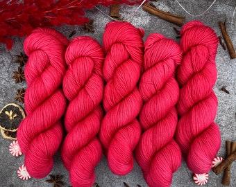 2-ply Fingering Weight | CHRISTMAS RED | Hand Dyed Yarn | Superwash Merino Wool