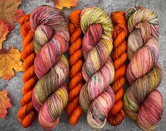 Sock Set | 85/15 SW Merino/Wool Sock Weight| Cinnamon Pumpkin Latte and Spicy Citrus | Hand Dyed Yarn | Superwash wool