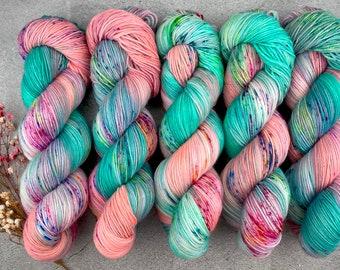 100% Merino SW Fingering Weight | Sugarcube Corner | Pinkie Pie Collection | Hand Dyed Yarn | Superwash wool