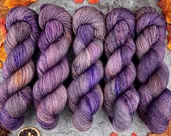 Biscotti Sock   85/15 SW Merino/Wool Sock Weight  Mulled Plum Cordial   Hand Dyed Yarn   Superwash wool