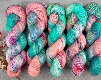 Biscotti DK Weight | 85% SW Merino Wool/15 Nylon | Sugarcube Corner | Pinkie Pie Collection | Hand Dyed Yarn | Superwash