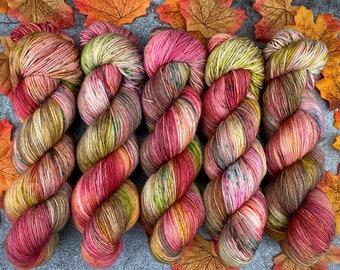 2-ply Fingering Weight | Cinnamon Pumpkin Latte | Hand Dyed Yarn | Superwash Merino Wool