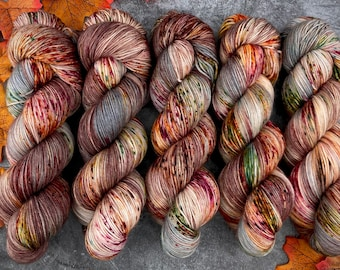 Worsted Weight   Autumn Leaves   Hand Dyed Yarn   Superwash