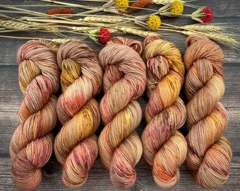 Biscotti Sock | 85/15 SW Merino/Wool Sock Weight| Maple | Hand Dyed Yarn | Superwash wool