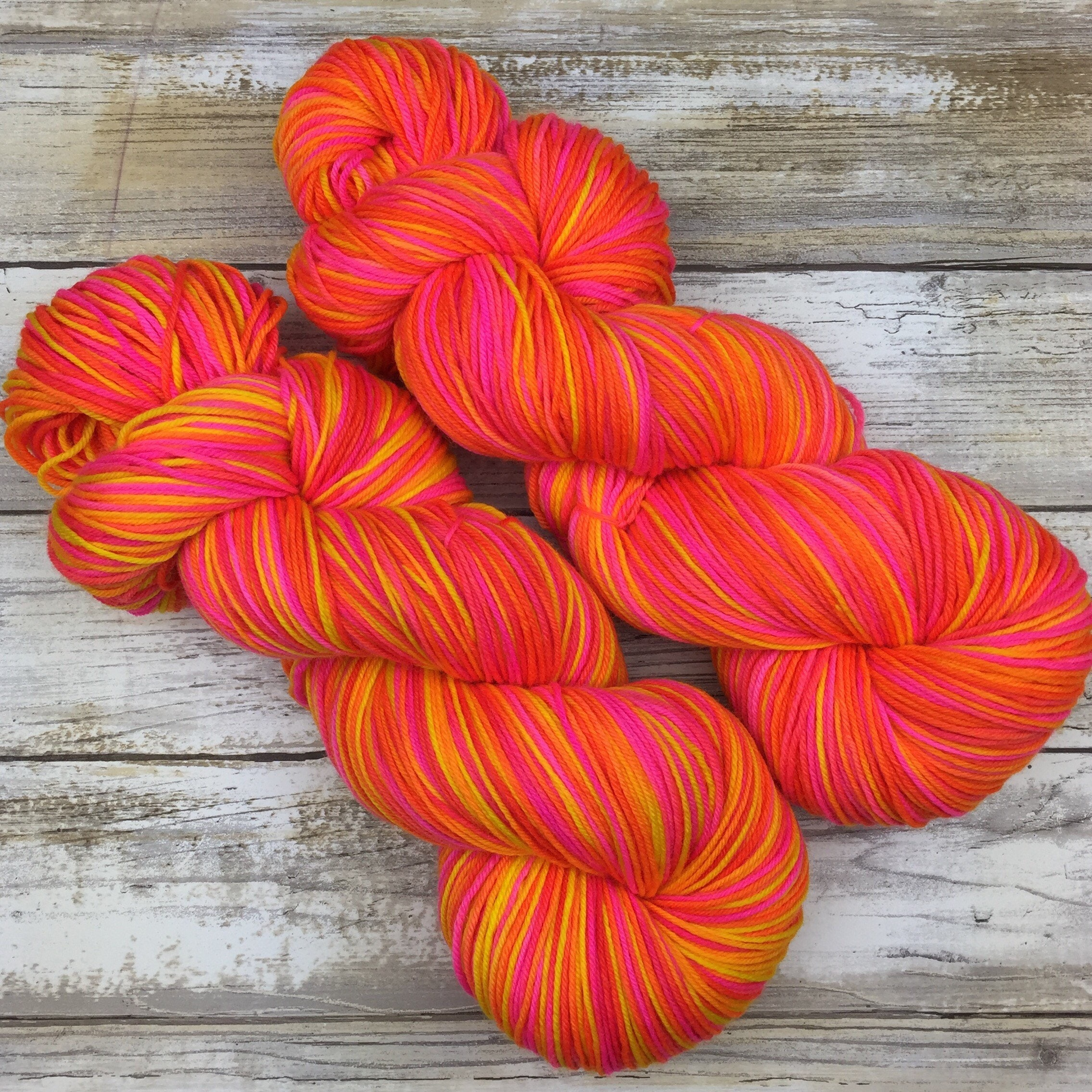 100g Sock Yarn Peach Coral Hand dyed Yarn  Handdyed yarn SW Merino  Nylon or Merino Cashmere Nylon Fingering Weight Wool Yarn