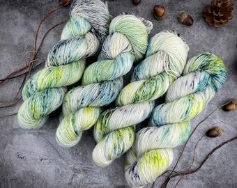 Merino/Linen Blend SW Fingering Weight | Potions Master | Hand Dyed Yarn | Superwash wool