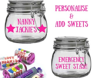 nanny birthday gift for nanny personalised nanny gift nanny gift personalised nanny jar nanny present personalised sweets jar