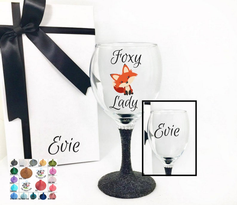 1abf576b3fe Fox wine glass valentine wine glass personalised valentine | Etsy