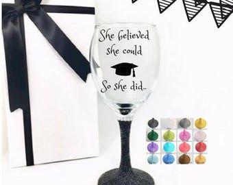Wine glass graduation, graduation gift for daughter, sister graduation gift for her, college graduation gift for her, daughter graduation,