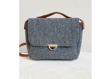 2e6a2c9ae3 Handmade Grey Waterproof Polyester Felt Bag With Brown Real Leather Strap  City Shoulder Office Handbag