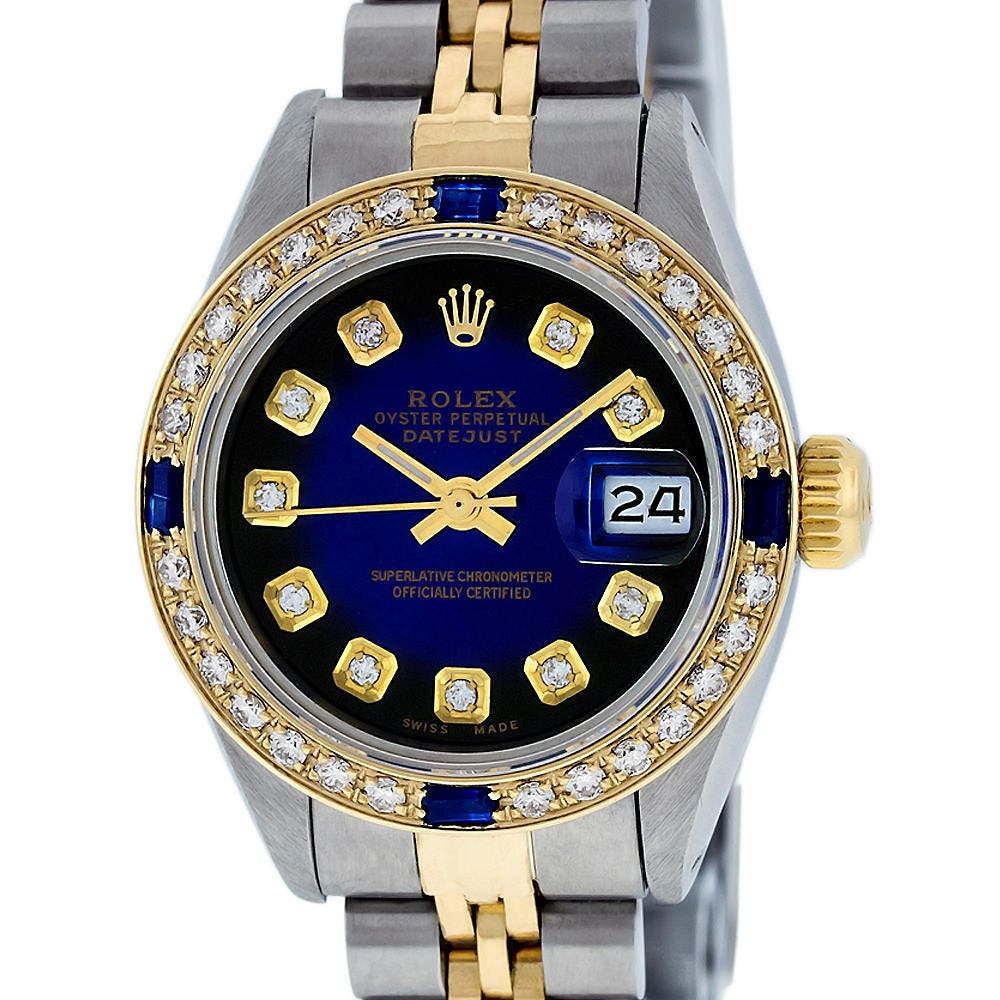 efed443895a Rolex Lady Datejust SS & 18K Yellow Gold Blue Vignette Diamond ...