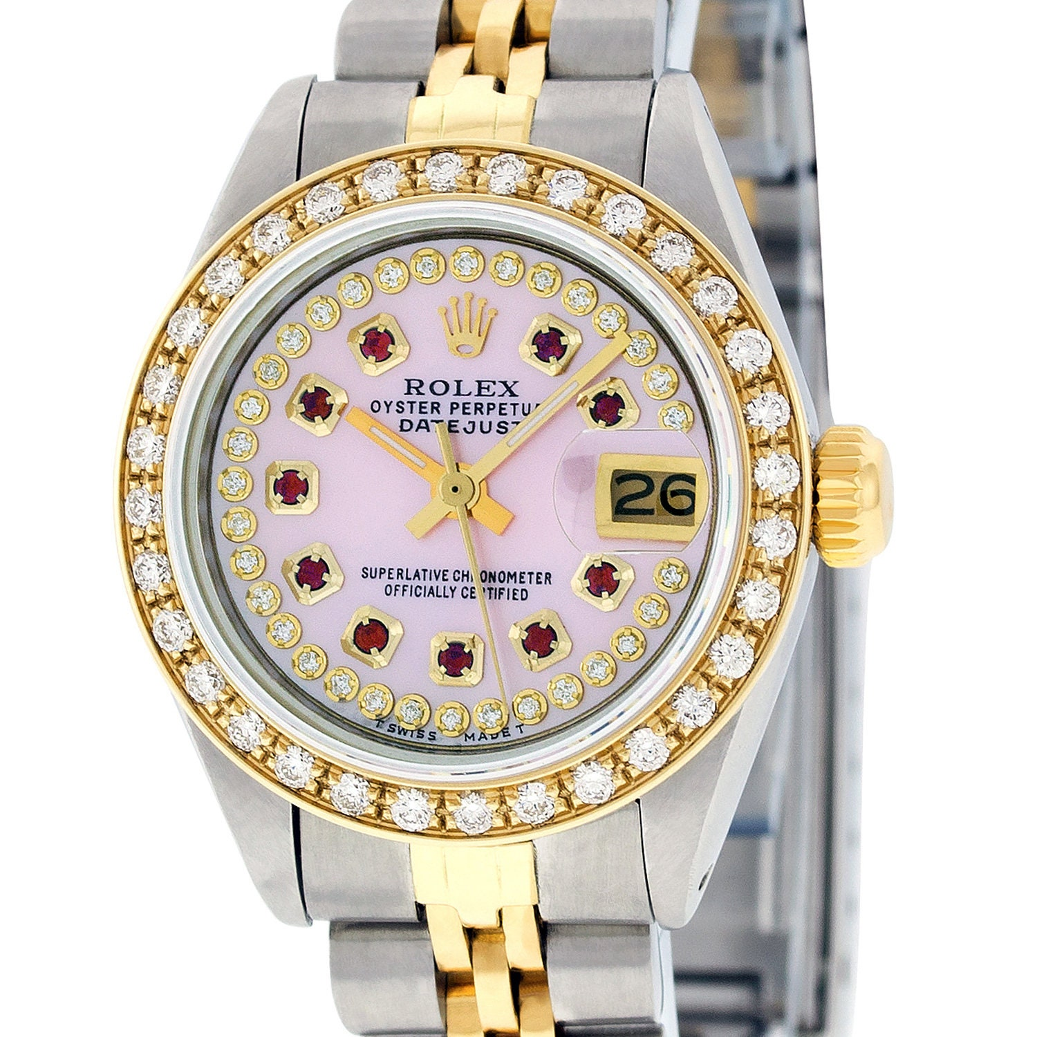 17bdafe609e Rolex Lady Datejust Watch SS & 18K Yellow Gold Pink MOP String ...
