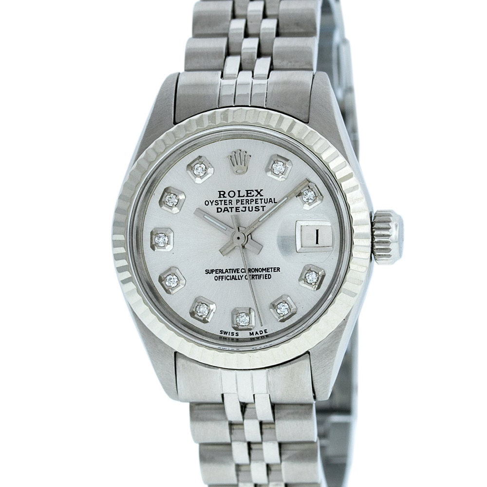 40fe13c99731 Rolex Lady Datejust Stainless Steel   White Gold Silver Diamond ...