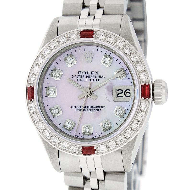 1b3bb447007 Rolex Lady Datejust Watch S/Steel & 18K White Gold Pink MOP | Etsy