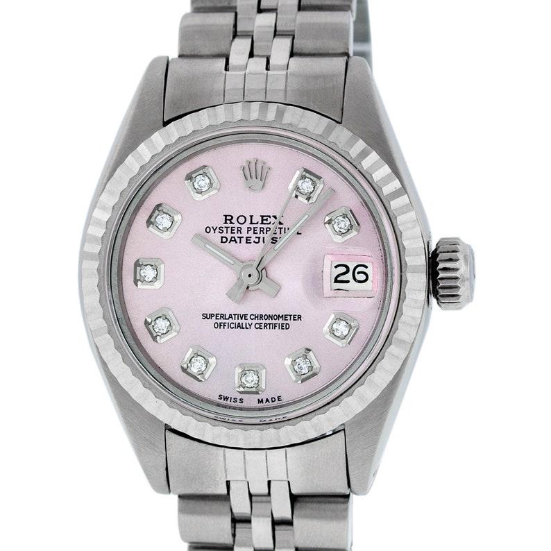 Rolex Datejust Damenuhr S Weissgold Rosa Diamant