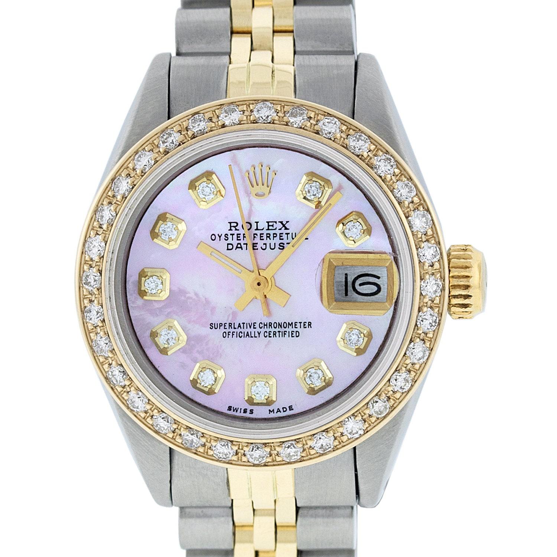c14f79911ce Rolex Lady Datejust Watch SS & 18K Yellow Gold Pink MOP Diamond ...