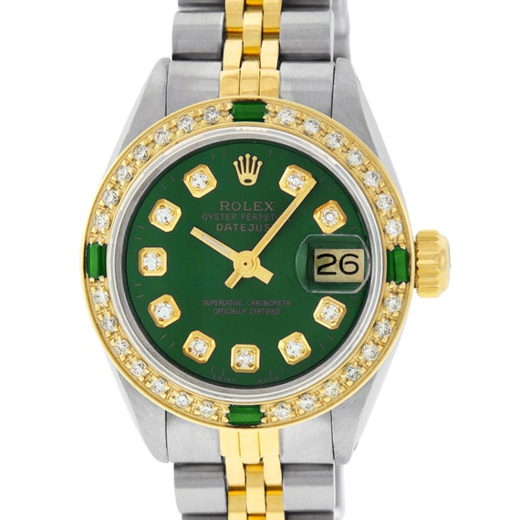 Rolex Womens Datejust Watch S/S \u0026 Yellow Gold Green Diamond Dial Emerald  Bezel