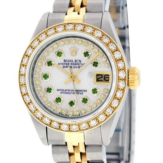 3fd1e8f1a4b Rolex Womens Datejust Watch SS & Yellow Gold MOP Emerald Dial   Etsy